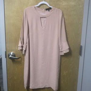 Eloquii peach/nude midi dress w/ruffled sleeve